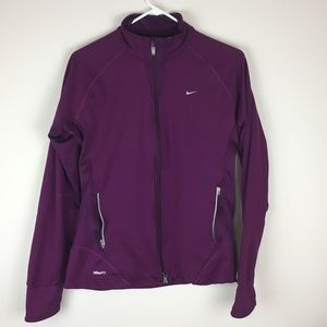 Nike Womens Purple Long Sleeve Athletic Jacket